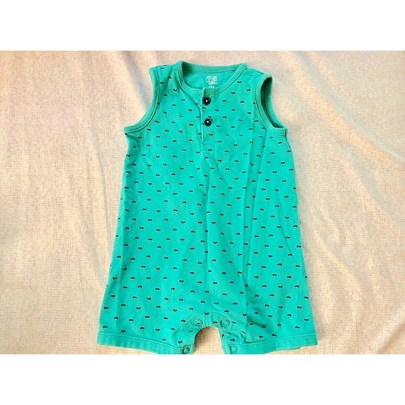Carters Baby Boys Romper Tropical Summer Outfit Set Size 3 6 9 Months Blue Green